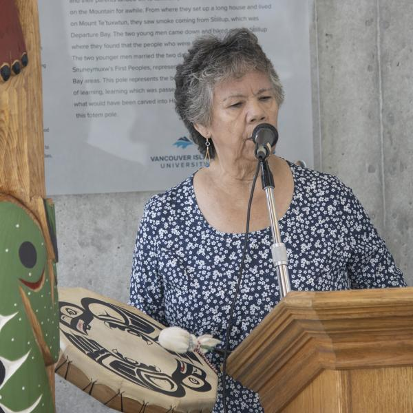 VIU Elder Geraldine Manson gives the official welcome.