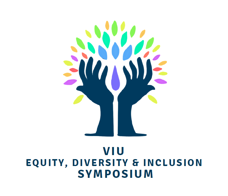 A pair of hands reach upwards towards a shower of colours with the words Equity, Diversity and Inclusion Symposium underneath.