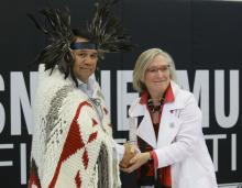 Snuneymuxw Chief Michael Wyse and Carolyn Bennett, Minister of Crown-Indigenous Relations