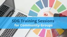 Graphic of laptop and colour wheel with the text, SDG Training Sessions for Community Groups.