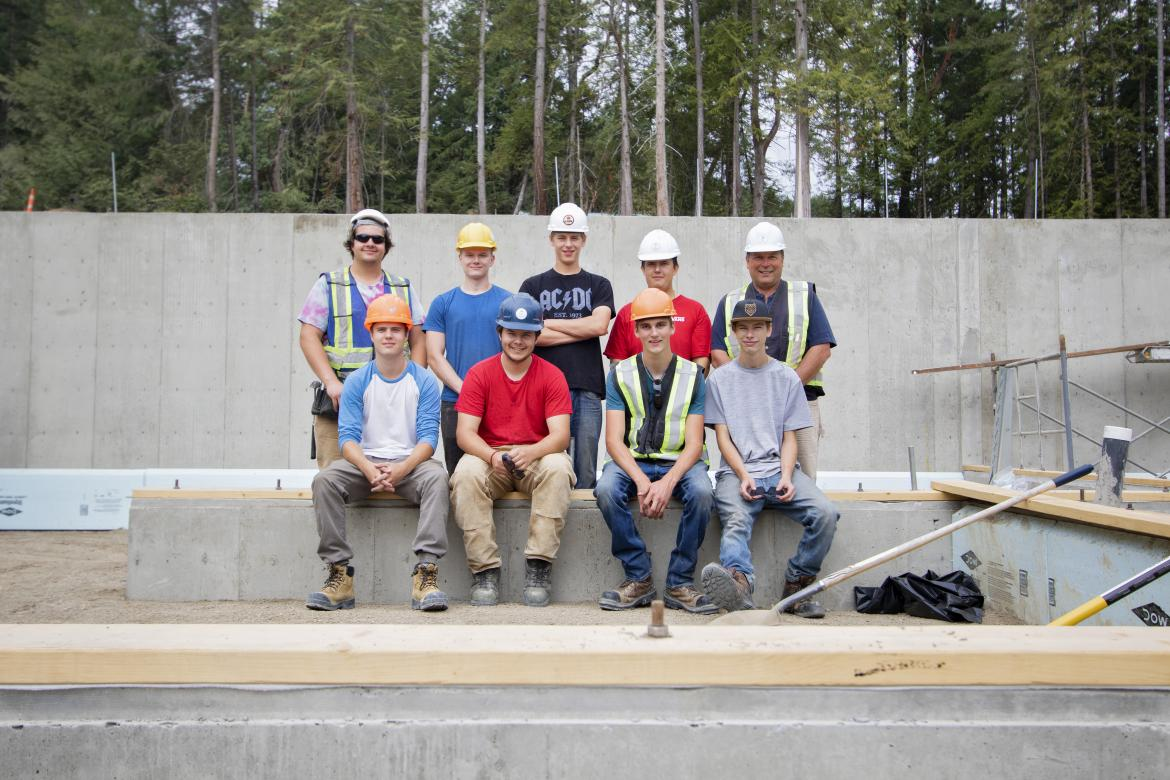 Vancouver Island University carpentry students at the Cowichan campus learn skills on-site while building homes for the Malahat Nation.