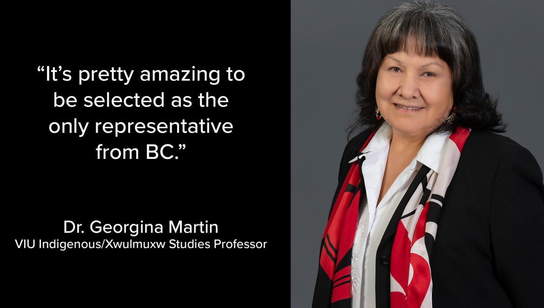 : Dr. Georgina Martin, a VIU Indigenous/Xwulmuxw Studies Professor.