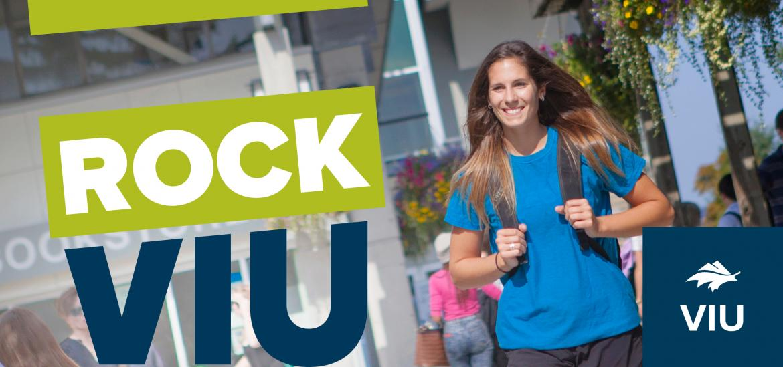 Rock VIU logo with girl walking with backpack