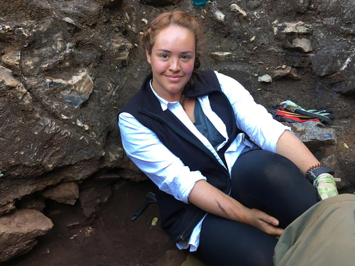 Samantha Good sits in her excavation square during the dig she attended in the Drimolen Palaeocave system.