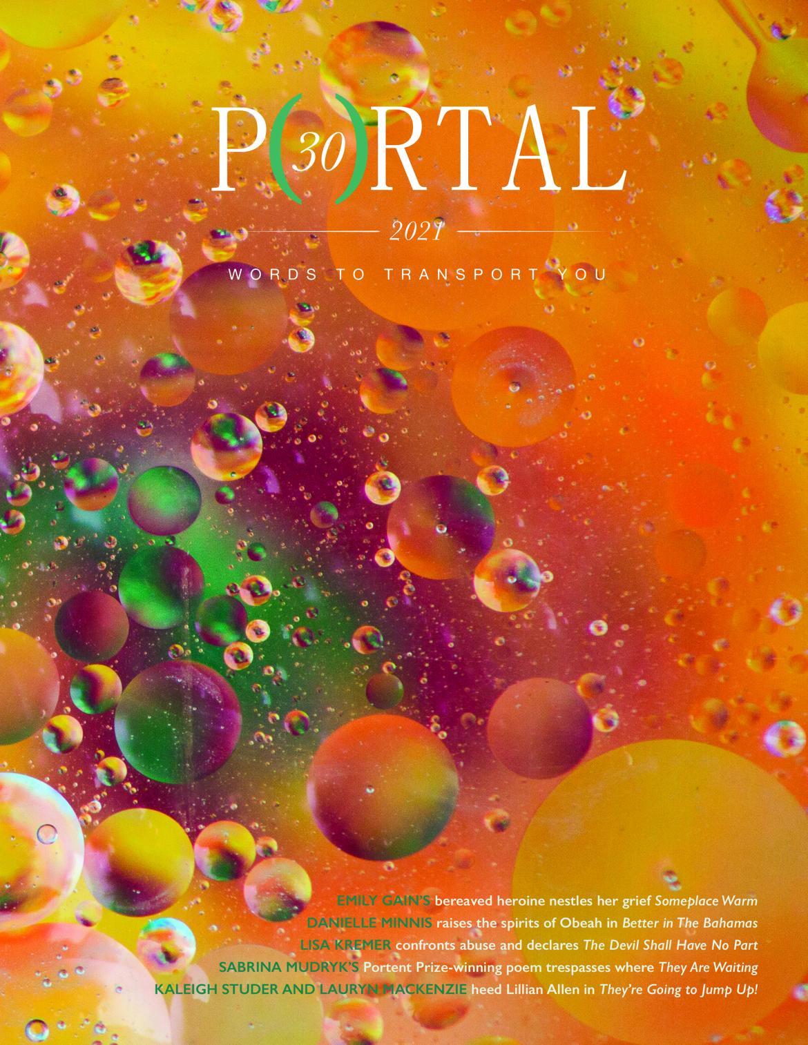 Portal magazine's 30th anniversary cover pops with orange and yellow bubbles