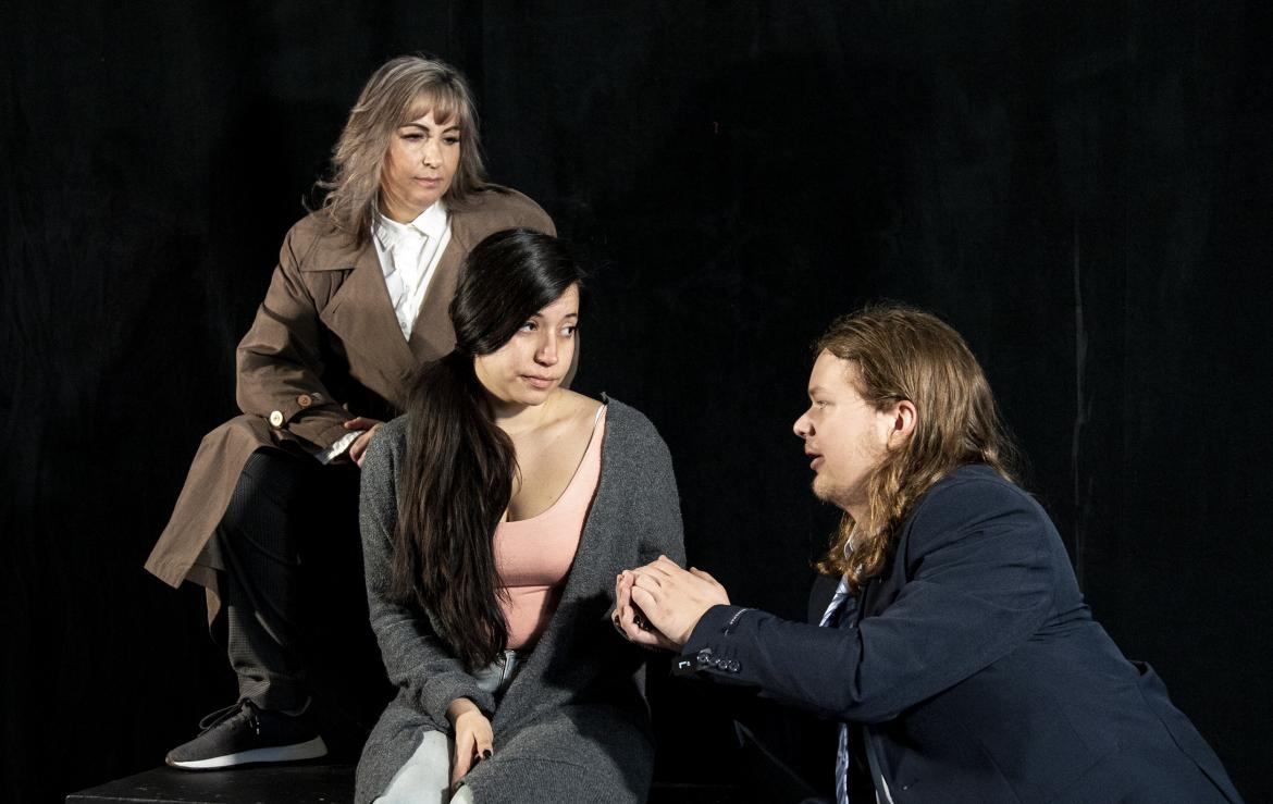 Linda Dohmeier, left, Ana Carvalho, and Brando Martell rehearse a scene from The End of Civilization.
