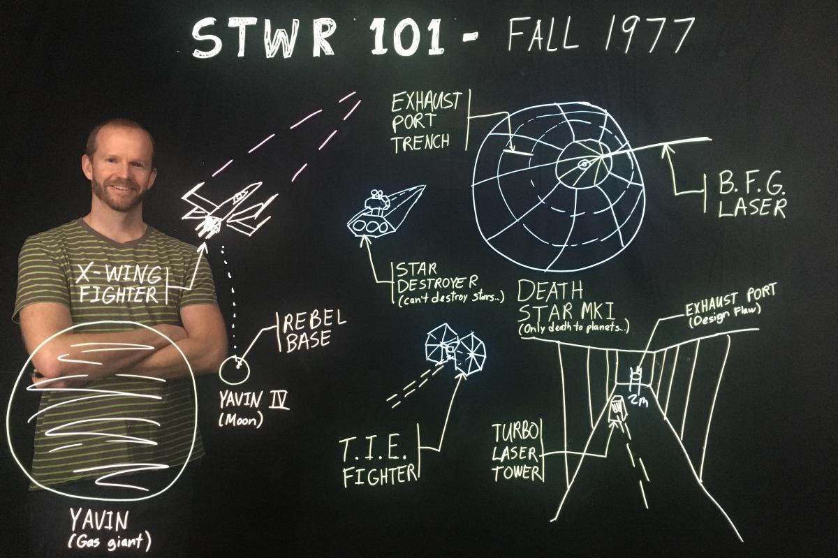 VIU Engineering Technician David Moss has used the light board to illustrate some cool Star Wars facts such as where the exhaust port is located on the Death Star.