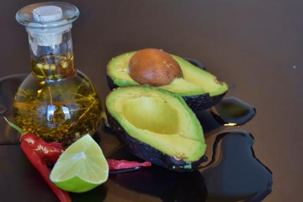 oil, lime and an avocado
