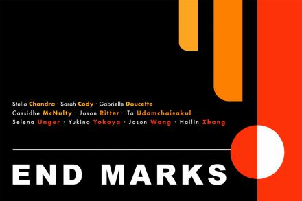 A yellow, orange and red line descend from the top right corner over a black background on exhibit poster for End Marks