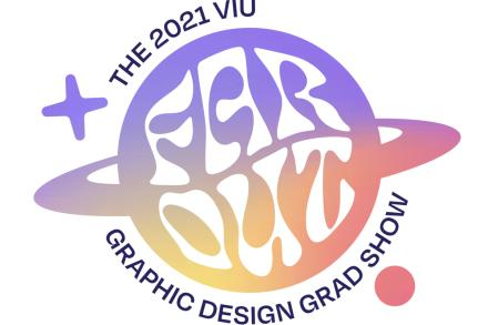 Graphic Design logo in purple and orange that reads: Far Out The 2021 VIU Graphic Design Grad Show