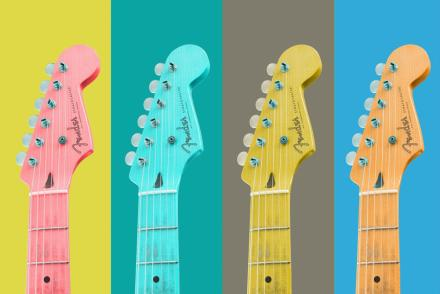 The top half of guitars pictured against yellow, green, grey, blue and peach backgrounds.